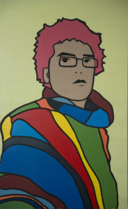 Lucas Con Zarape. (2013). Vinilo y acrílico sobre MDF. 124 x 76 cms.