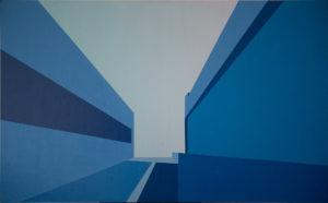 Bucaramanga Time (Distorsion). (2011). Vinilo y acrílico sobre MDF. 76 x 122 cms.