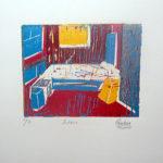 Espacio. (2000). Linóleo. 18 cm. 12 cm.