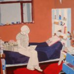 Espacio Interior (Joven Leyendo). (2005). Vinilo y Dibujo sobre MDF. 70 cm. 50 cm.