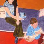 Espacio Interior (Joven, Niño y Gato). (2005). Vinilo y Dibujo sobre MDF. 70 cm. 50 cm.