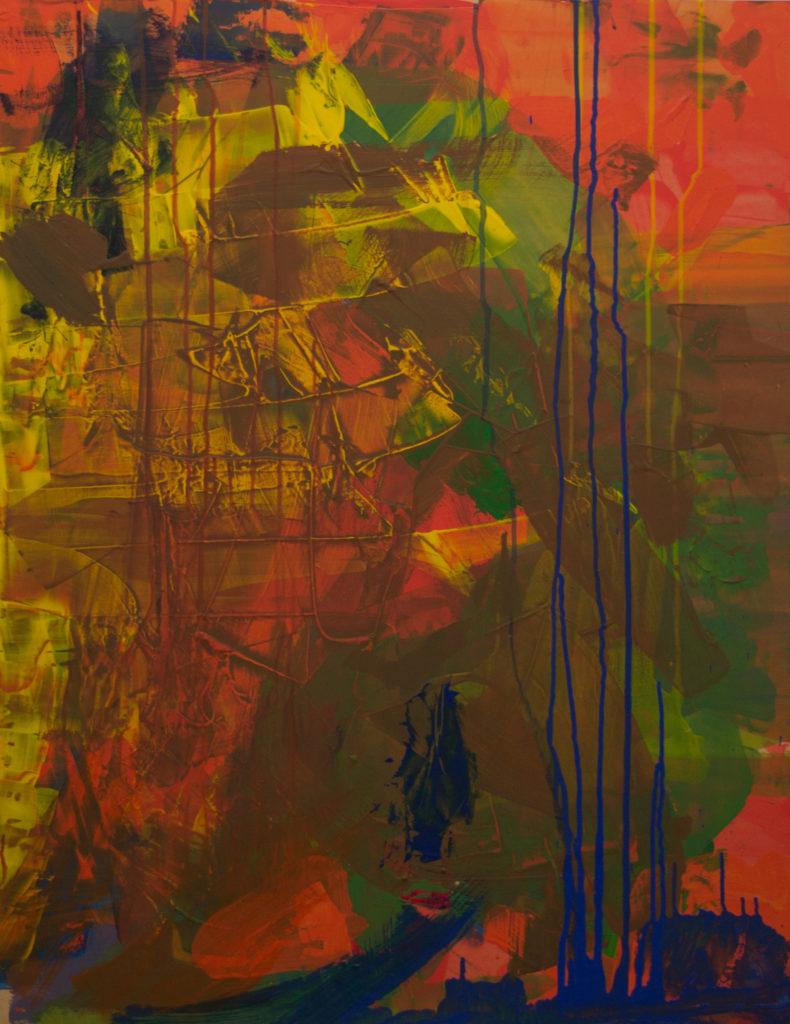 Dejar Pintura Resto 2 (2018). Vinilo y acrílico sobre MDF. 70 cm 90 cm