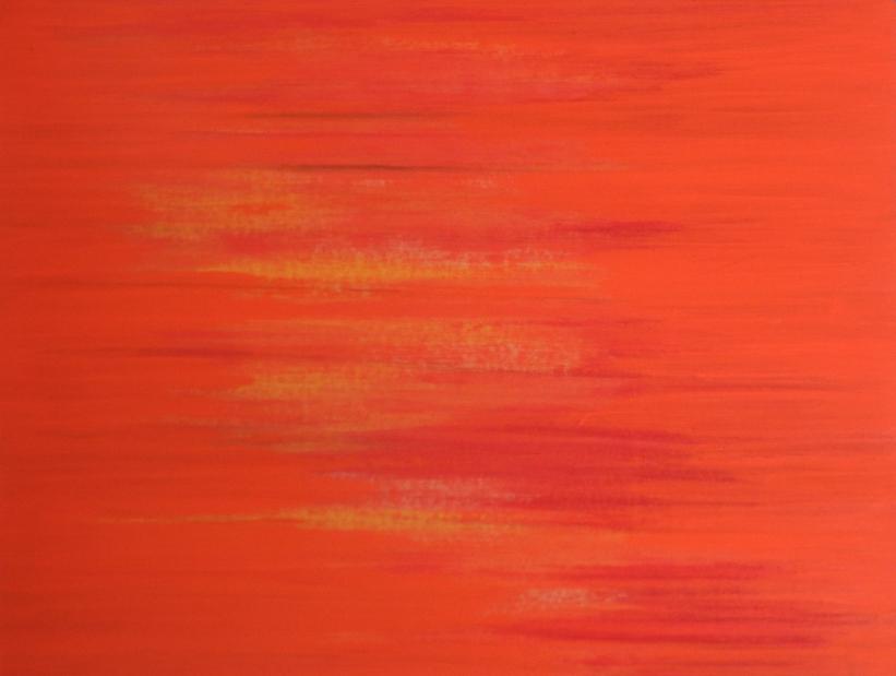 Dejar Pintura: Líneas Naranja (2018). Vinilo y acrílico sobre MDF. 70 cm 90 cm