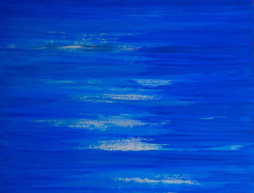 Dejar Pintura: Líneas Azul (2018). Vinilo y acrílico sobre MDF. 70 cm 90 cm